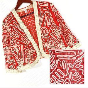 CHICO'S Braided Stitch Cropped Jacket